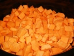 Peel and chop your sweet potatoes