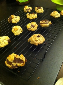 Dark chocolate walnut Paleo cookies.
