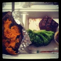 Small filet, brocoli, and sweet potato for dinner on Friday night.