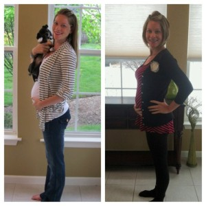 27 weeks pregnant with Emma (left) and Baby Boy (right). Can you tell a difference?