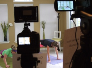 "We had a fabulous film crew on hand to shoot the ""Pregnancy Exercise: Fit Pregnancy Total Body Workout DVD"""