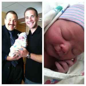 Cole Preston Tress. Born at 12.12 on June 21, 2013. Proud daddy (and my doctor) to the left.